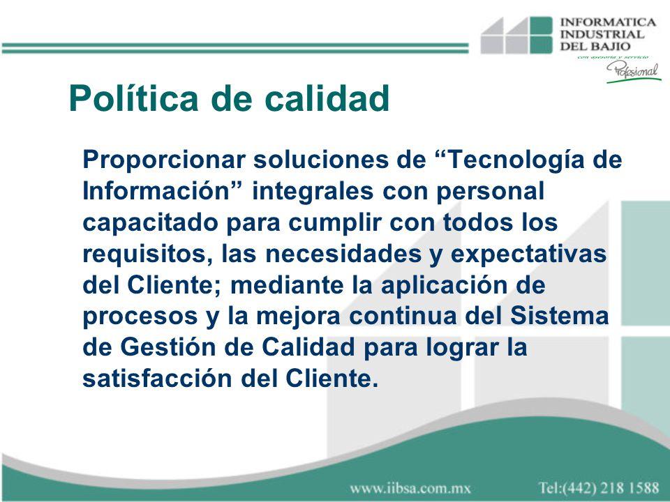 Proporcionar soluciones de Tecnología de Información integrales con personal capacitado para cumplir con todos los requisitos, las necesidades y expec