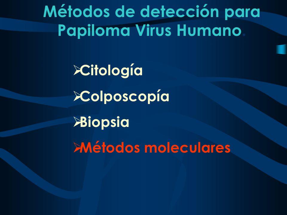 Métodos de detección para Papiloma Virus Humano. Citología Colposcopía Biopsia Métodos moleculares