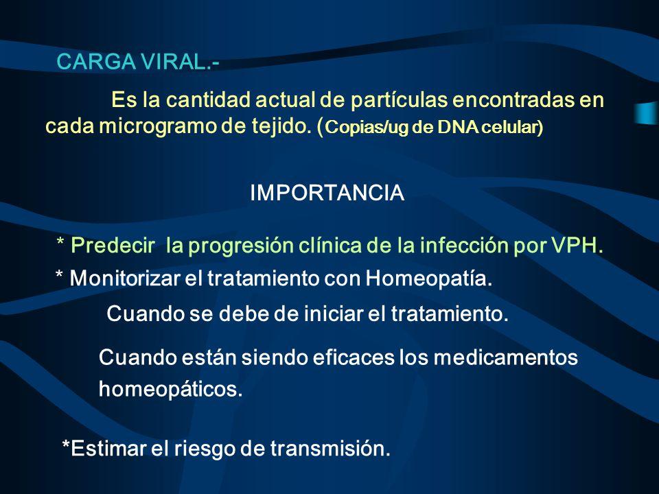CARGA VIRAL.- IMPORTANCIA Es la cantidad actual de partículas encontradas en cada microgramo de tejido. ( Copias/ug de DNA celular) * Predecir la prog