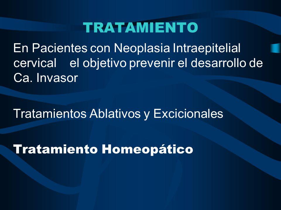 TRATAMIENTO En Pacientes con Neoplasia Intraepitelial cervical el objetivo prevenir el desarrollo de Ca. Invasor Tratamientos Ablativos y Excicionales