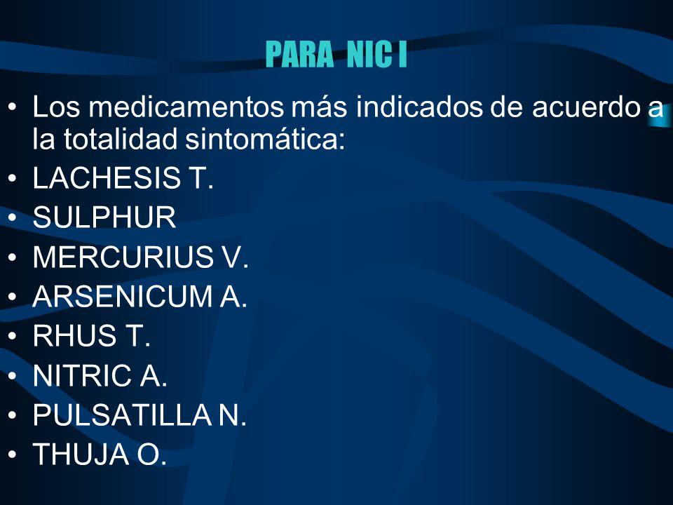 PARA NIC I Los medicamentos más indicados de acuerdo a la totalidad sintomática: LACHESIS T. SULPHUR MERCURIUS V. ARSENICUM A. RHUS T. NITRIC A. PULSA