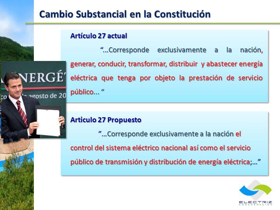 Cambio Substancial en la Constitución Artículo 27 actual...Corresponde exclusivamente a la nación, generar, conducir, transformar, distribuir y abaste