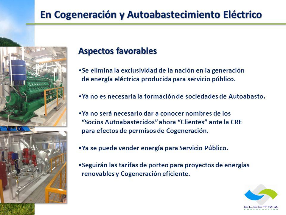 En Cogeneración y Autoabastecimiento Eléctrico Aspectos favorables Se elimina la exclusividad de la nación en la generación de energía eléctrica produ