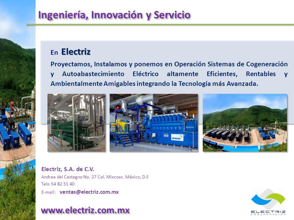 Ingeniería, Innovación y Servicio Electriz, S.A. de C.V. Andrea del Castagno No. 27 Col. Mixcoac. México, D.F. Tels: 54 82 51 40 E-mail: ventas@electr