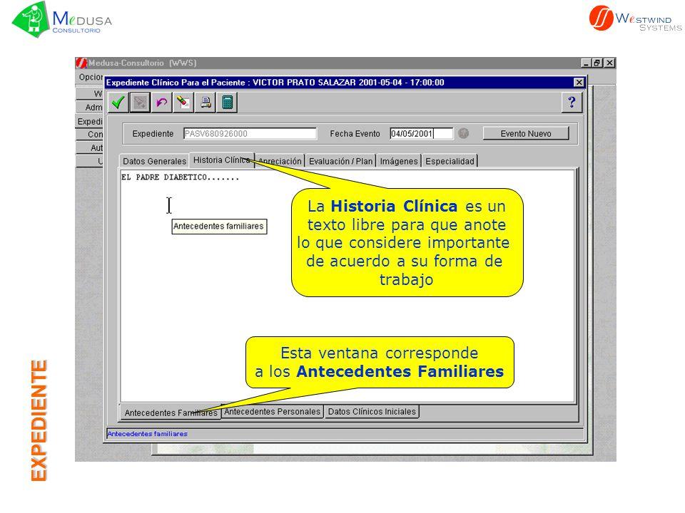 EXPEDIENTE La Historia Clínica es un texto libre para que anote lo que considere importante de acuerdo a su forma de trabajo Esta ventana corresponde