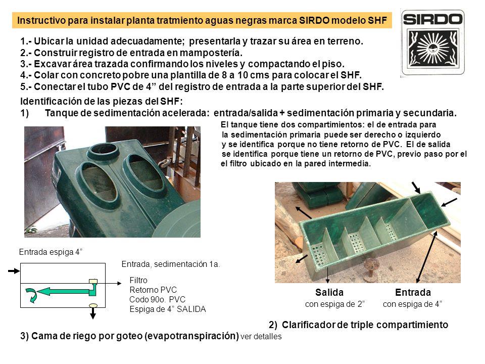 Instructivo para instalar planta tratmiento aguas negras marca SIRDO modelo SHF 1.- Ubicar la unidad adecuadamente; presentarla y trazar su área en te