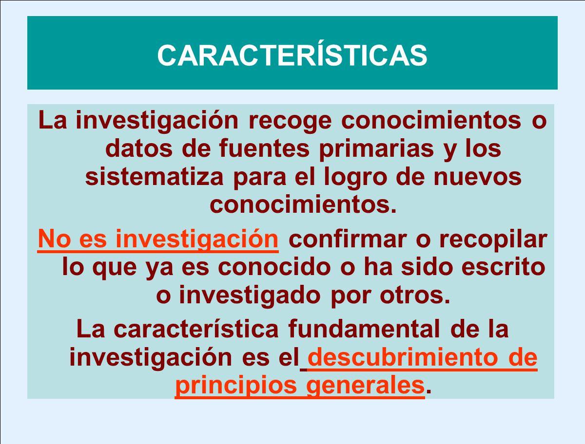 CARACTERÍSTICAS La investigación recoge conocimientos o datos de fuentes primarias y los sistematiza para el logro de nuevos conocimientos. No es inve