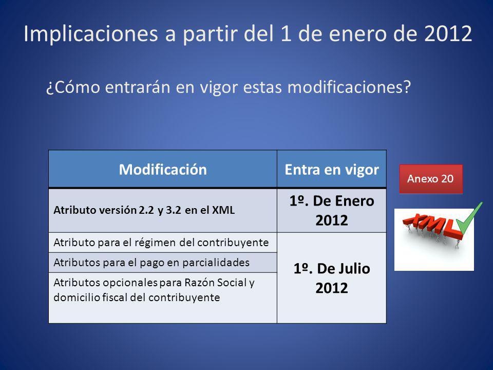 Implicaciones a partir del 1 de enero de 2012 ¿Cómo entrarán en vigor estas modificaciones? Anexo 20 ModificaciónEntra en vigor Atributo versión 2.2 y