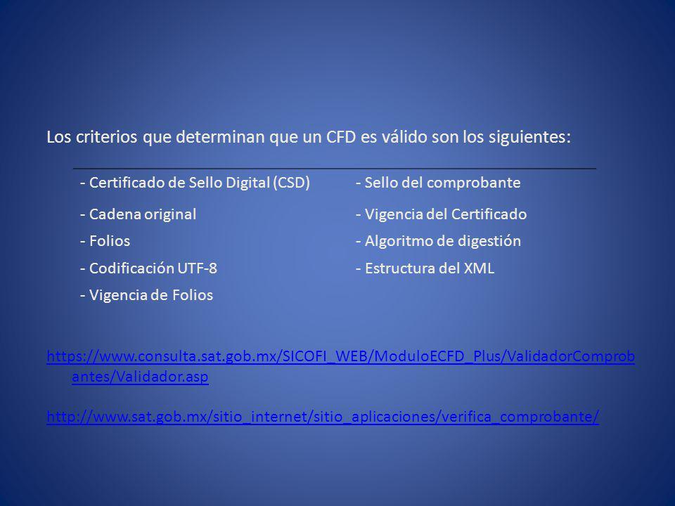 Los criterios que determinan que un CFD es válido son los siguientes: https://www.consulta.sat.gob.mx/SICOFI_WEB/ModuloECFD_Plus/ValidadorComprob ante