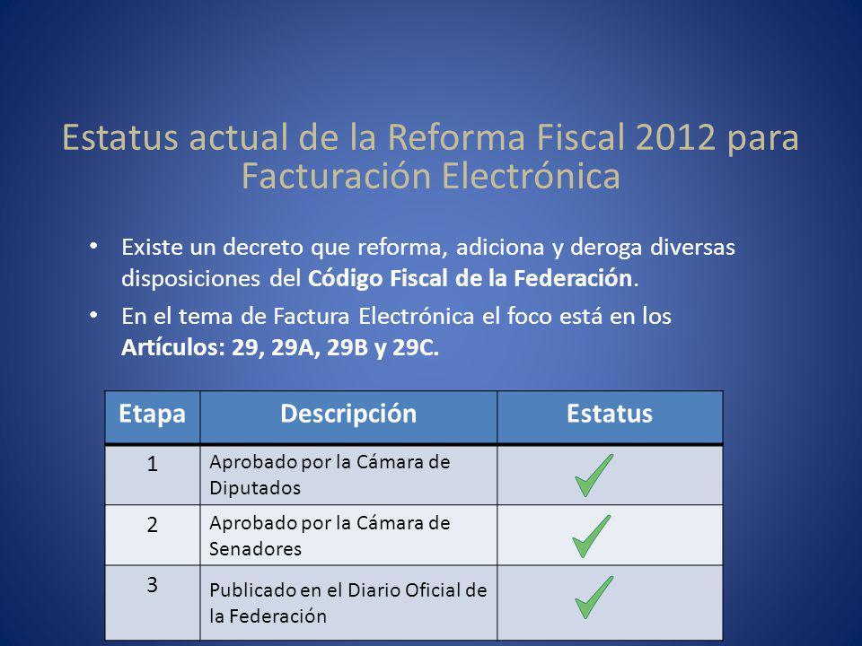 Existe un decreto que reforma, adiciona y deroga diversas disposiciones del Código Fiscal de la Federación. En el tema de Factura Electrónica el foco