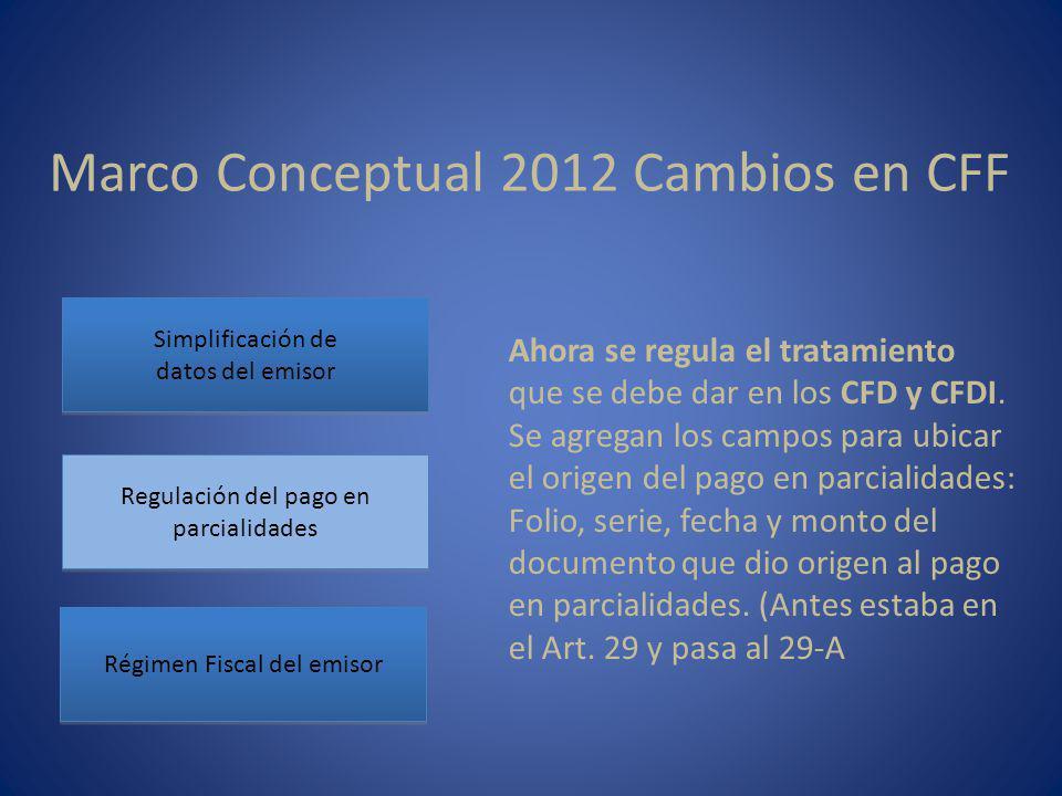 Marco Conceptual 2012 Cambios en CFF Simplificación de datos del emisor Simplificación de datos del emisor Regulación del pago en parcialidades Régimen Fiscal del emisor Ahora se regula el tratamiento que se debe dar en los CFD y CFDI.