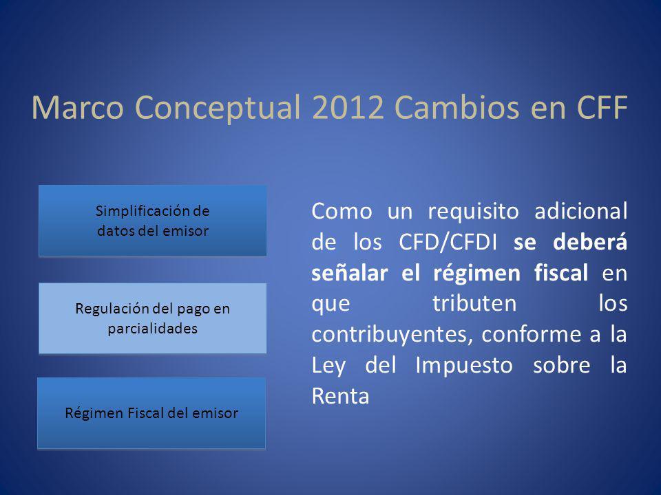 Marco Conceptual 2012 Cambios en CFF Simplificación de datos del emisor Simplificación de datos del emisor Regulación del pago en parcialidades Régime