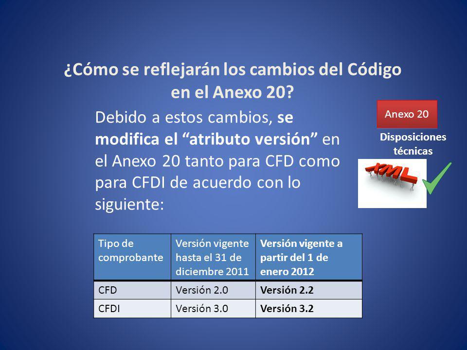 ¿Cómo se reflejarán los cambios del Código en el Anexo 20? Anexo 20 Debido a estos cambios, se modifica el atributo versión en el Anexo 20 tanto para
