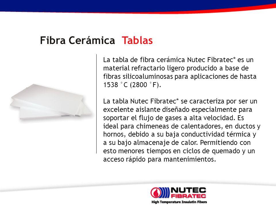 Fibra Cerámica Tablas La tabla de fibra cerámica Nutec Fibratec* es un material refractario ligero producido a base de fibras silicoaluminosas para aplicaciones de hasta 1538 °C (2800 °F).