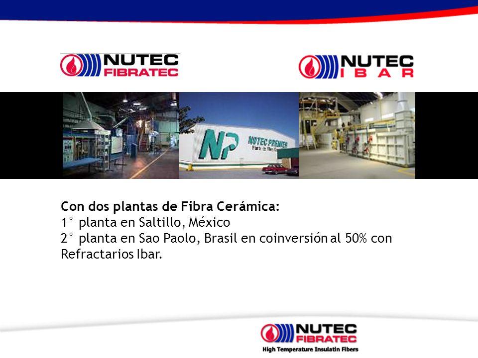 Con dos plantas de Fibra Cerámica: 1° planta en Saltillo, México 2° planta en Sao Paolo, Brasil en coinversión al 50% con Refractarios Ibar.