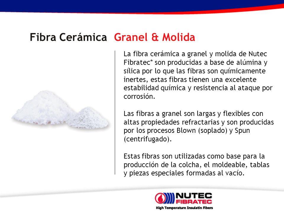 La fibra cerámica a granel y molida de Nutec Fibratec* son producidas a base de alúmina y sílica por lo que las fibras son químicamente inertes, estas