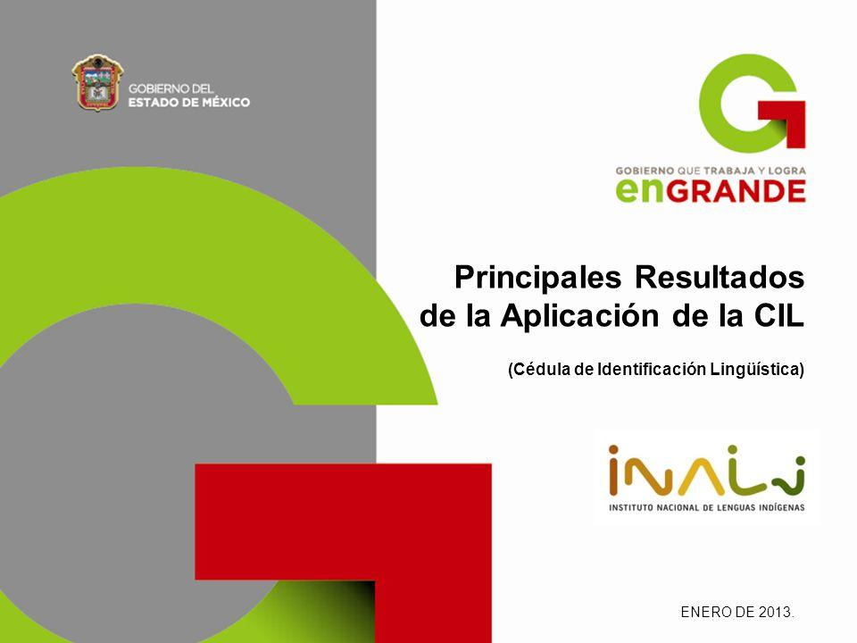 Principales Resultados de la Aplicación de la CIL (Cédula de Identificación Lingüística) ENERO DE 2013.