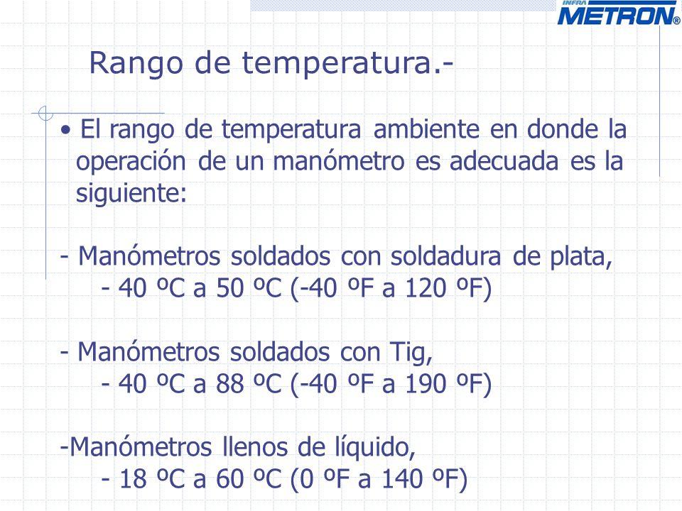 Rango de temperatura.- El rango de temperatura ambiente en donde la operación de un manómetro es adecuada es la siguiente: - Manómetros soldados con s