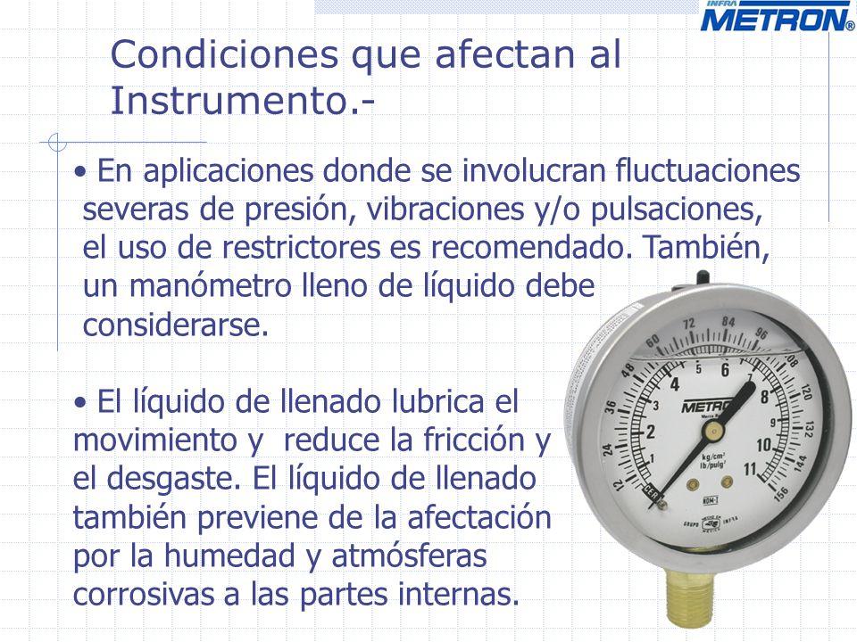 Condiciones que afectan al Instrumento.- En aplicaciones donde se involucran fluctuaciones severas de presión, vibraciones y/o pulsaciones, el uso de