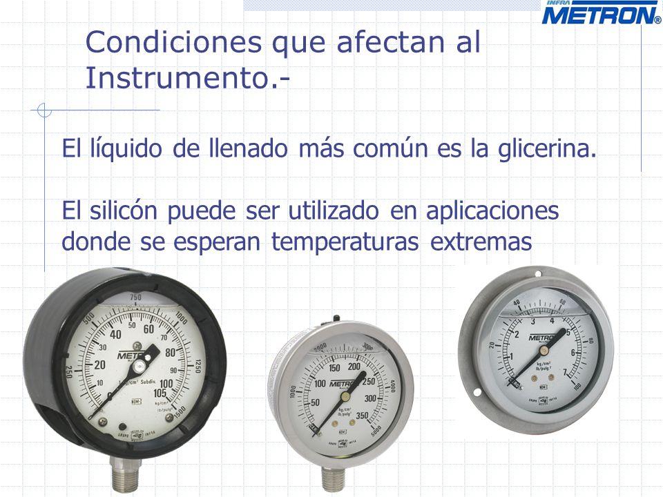 Condiciones que afectan al Instrumento.- El líquido de llenado más común es la glicerina. El silicón puede ser utilizado en aplicaciones donde se espe