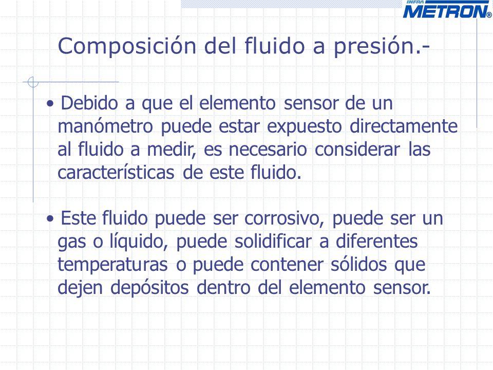 Composición del fluido a presión.- Debido a que el elemento sensor de un manómetro puede estar expuesto directamente al fluido a medir, es necesario c