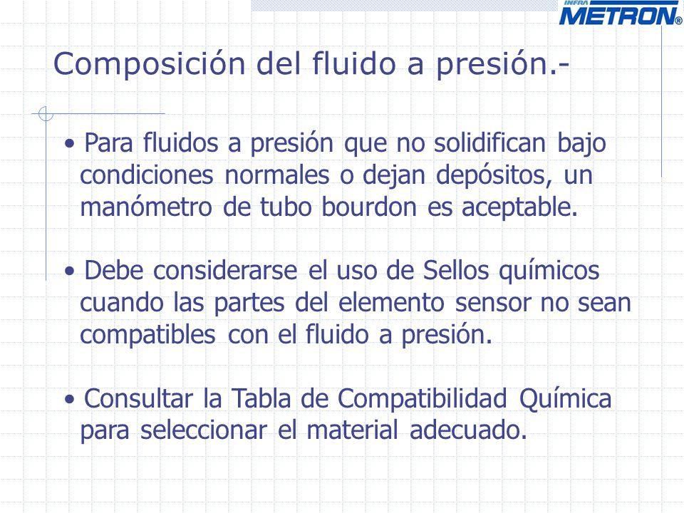 Composición del fluido a presión.- Para fluidos a presión que no solidifican bajo condiciones normales o dejan depósitos, un manómetro de tubo bourdon