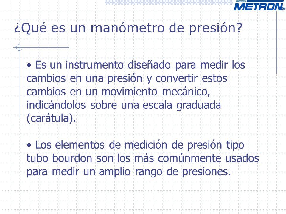 ¿Qué es un manómetro de presión? Es un instrumento diseñado para medir los cambios en una presión y convertir estos cambios en un movimiento mecánico,