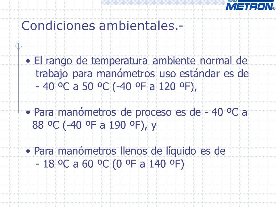 Condiciones ambientales.- El rango de temperatura ambiente normal de trabajo para manómetros uso estándar es de - 40 ºC a 50 ºC (-40 ºF a 120 ºF), Par