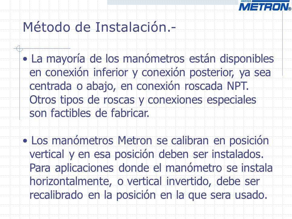 Método de Instalación.- La mayoría de los manómetros están disponibles en conexión inferior y conexión posterior, ya sea centrada o abajo, en conexión