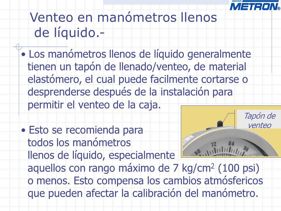 Venteo en manómetros llenos de líquido.- Los manómetros llenos de líquido generalmente tienen un tapón de llenado/venteo, de material elastómero, el c