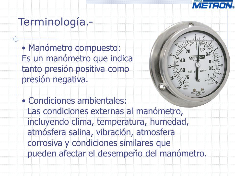 Terminología.- Manómetro compuesto: Es un manómetro que indica tanto presión positiva como presión negativa. Condiciones ambientales: Las condiciones