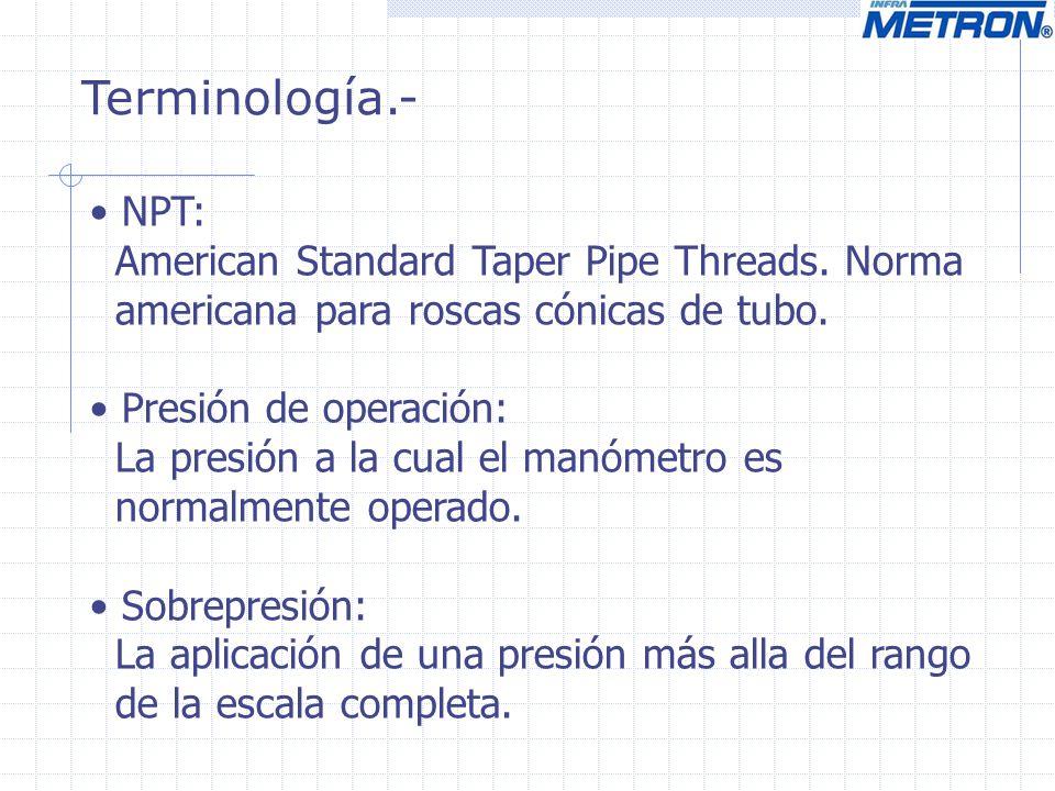 Terminología.- NPT: American Standard Taper Pipe Threads. Norma americana para roscas cónicas de tubo. Presión de operación: La presión a la cual el m