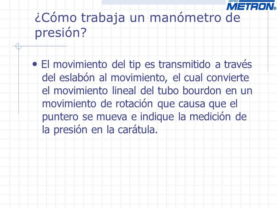 ¿Cómo trabaja un manómetro de presión? El movimiento del tip es transmitido a través del eslabón al movimiento, el cual convierte el movimiento lineal