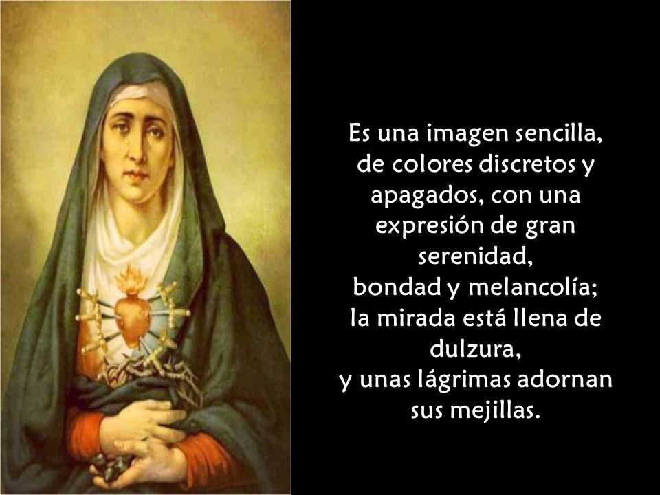 El cuadro Es una oleografía con el busto de Nuestra Señora de los Dolores, con el corazón visible traspasado por siete puñales: sus siete dolores, en