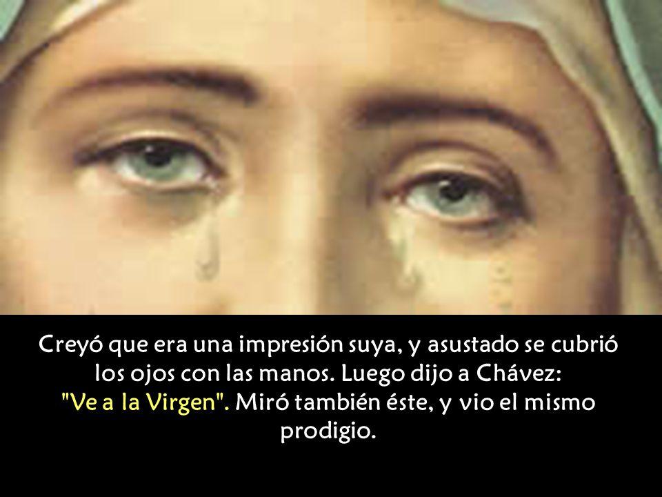 Uno de ellos, Carlos Herrmann hablaba con Jaime Chávez; mirando al cercano cuadro en la pared, notó que la Virgen movía los párpados, los abría y cerr