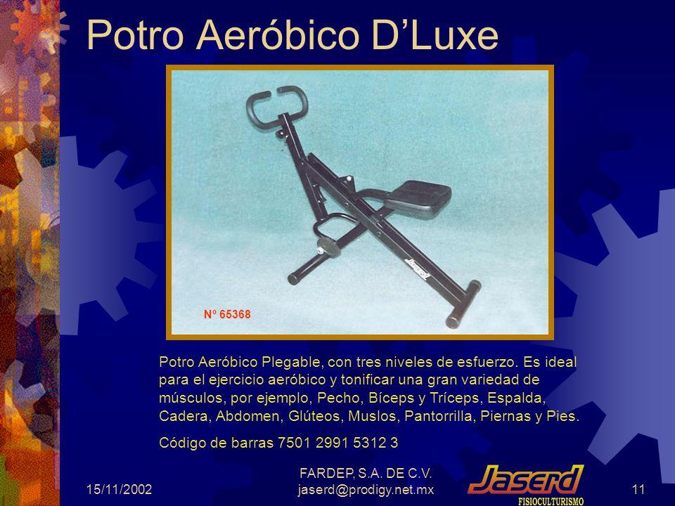 15/11/2002 FARDEP, S.A. DE C.V. jaserd@prodigy.net.mx10 Silla Romana de lujo, plegable, en perfil de 51 mm., Rodillos de 105 mm Código de barras 7501