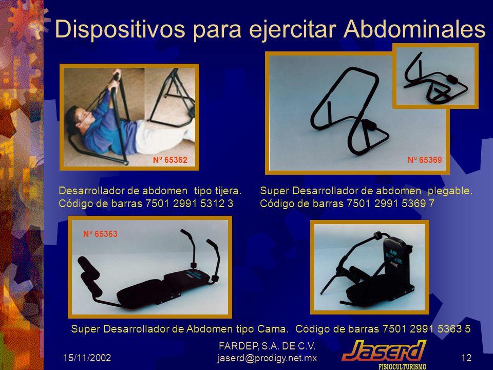 15/11/2002 FARDEP, S.A. DE C.V. jaserd@prodigy.net.mx11 Potro Aeróbico DLuxe Potro Aeróbico Plegable, con tres niveles de esfuerzo. Es ideal para el e
