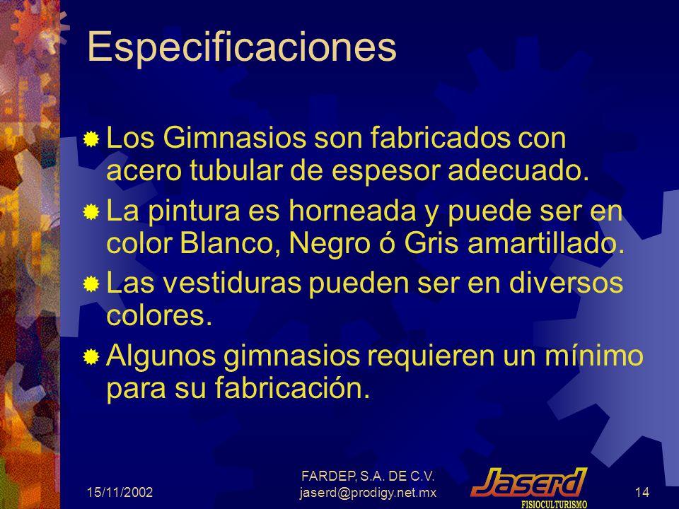 15/11/2002 FARDEP, S.A. DE C.V. jaserd@prodigy.net.mx13 Otros Ejercitadores para Abdominales