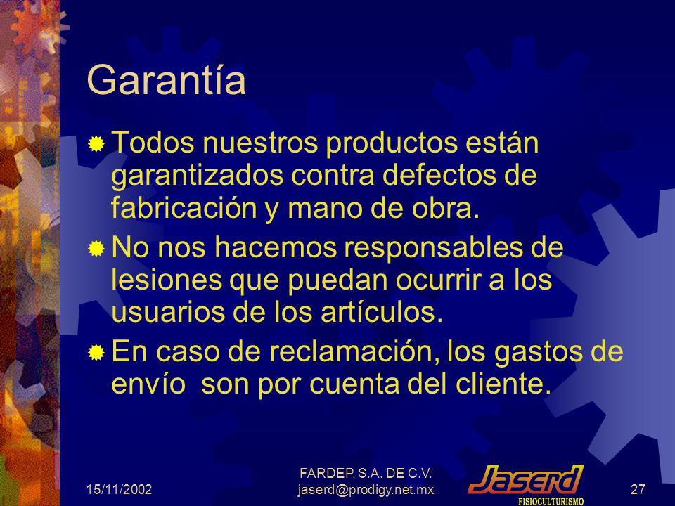 15/11/2002 FARDEP, S.A.DE C.V.