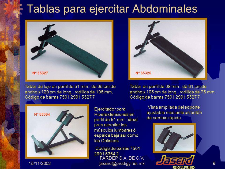 15/11/2002 FARDEP, S.A.DE C.V. jaserd@prodigy.net.mx19 Mancuernas de Hierro Revestidas de vinilo.