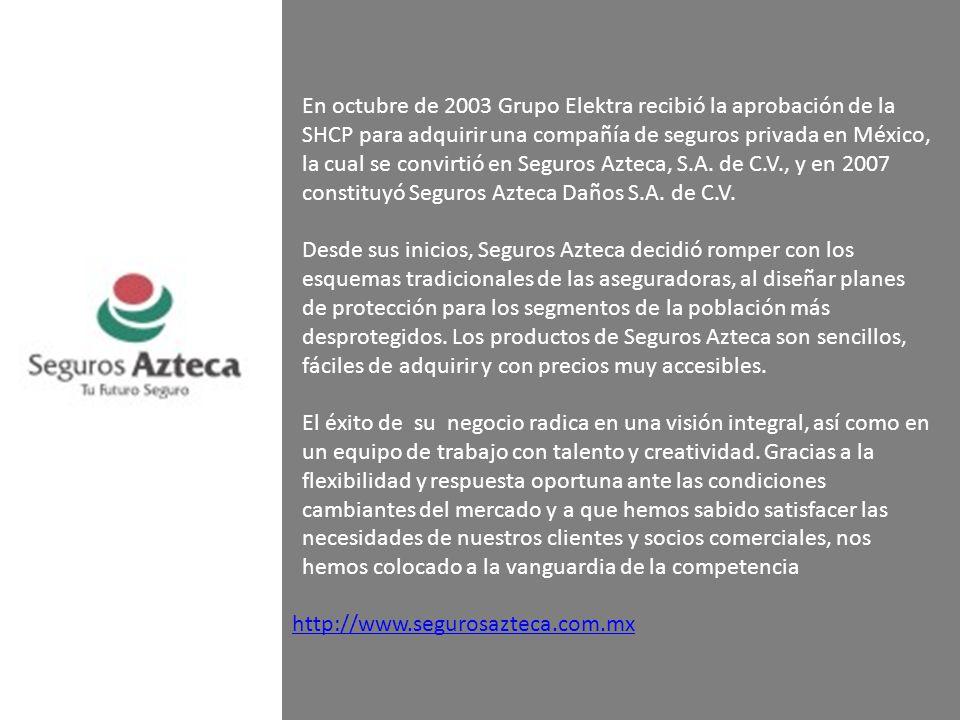 En octubre de 2003 Grupo Elektra recibió la aprobación de la SHCP para adquirir una compañía de seguros privada en México, la cual se convirtió en Seg