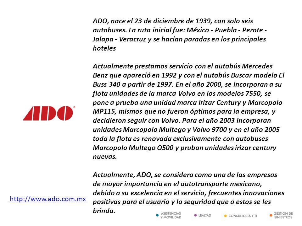 http://www.ado.com.mx ADO, nace el 23 de diciembre de 1939, con solo seis autobuses. La ruta inicial fue: México - Puebla - Perote - Jalapa - Veracruz