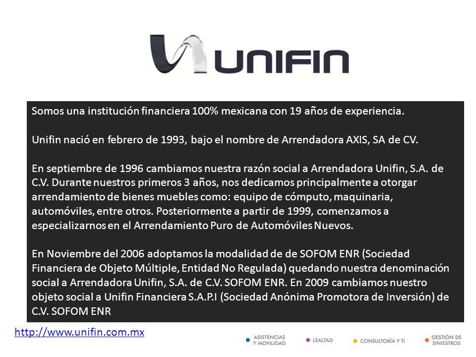 http://www.unifin.com.mx Somos una institución financiera 100% mexicana con 19 años de experiencia. Unifin nació en febrero de 1993, bajo el nombre de