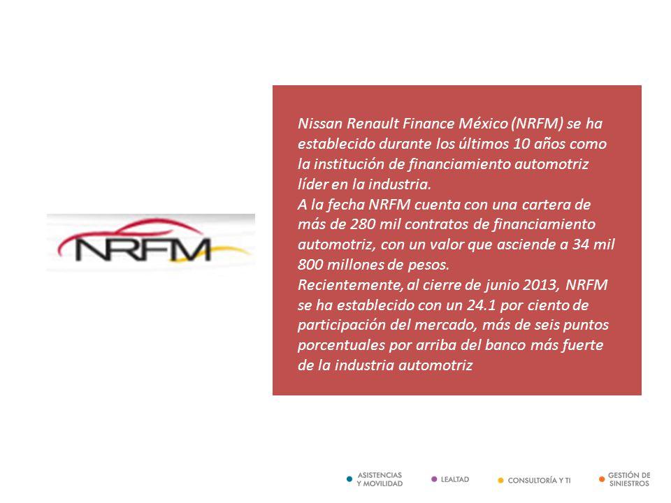 Nissan Renault Finance México (NRFM) se ha establecido durante los últimos 10 años como la institución de financiamiento automotriz líder en la indust