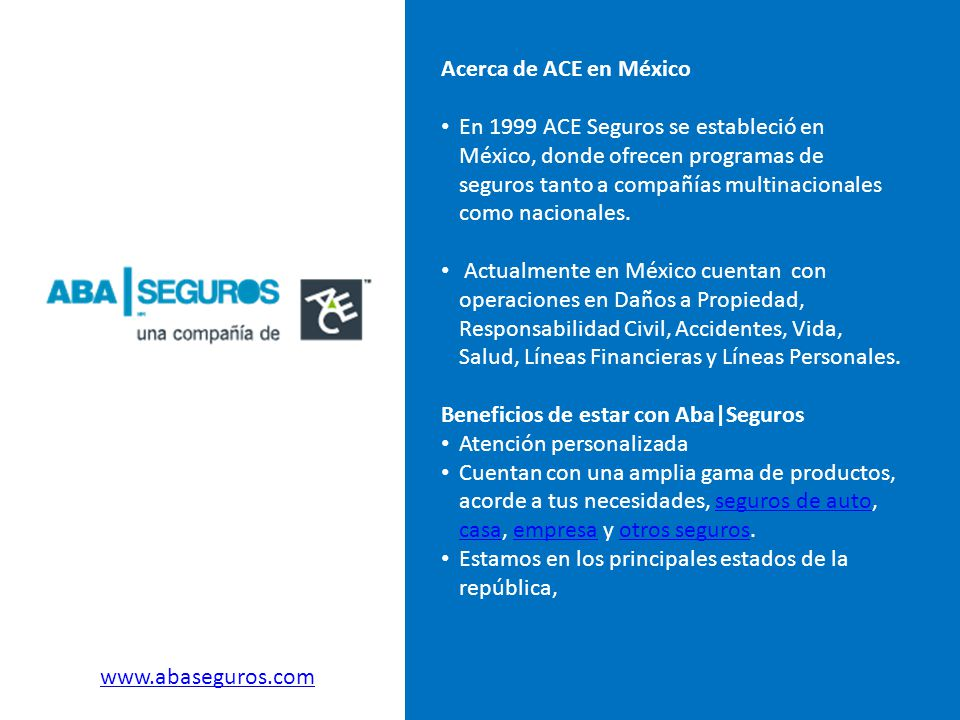 Acerca de ACE en México En 1999 ACE Seguros se estableció en México, donde ofrecen programas de seguros tanto a compañías multinacionales como naciona
