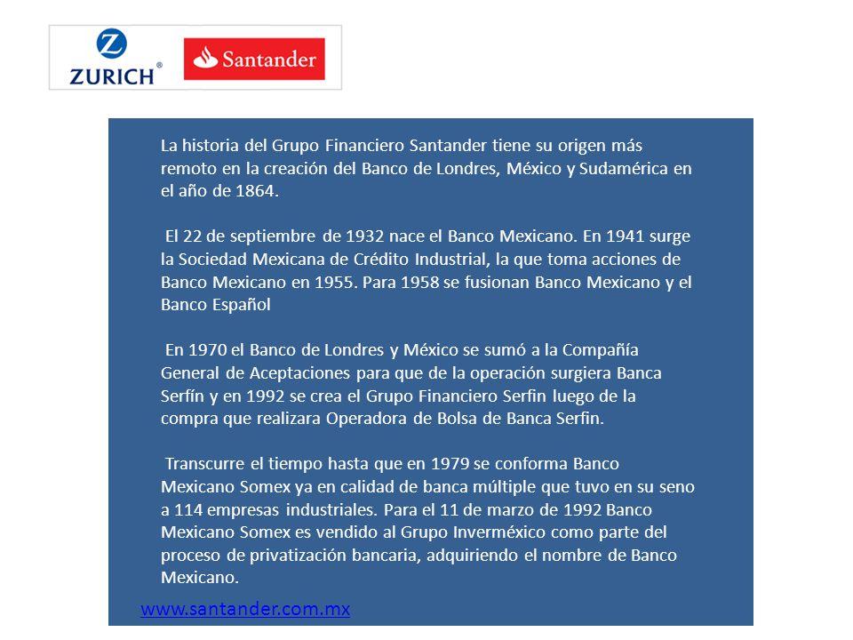 La historia del Grupo Financiero Santander tiene su origen más remoto en la creación del Banco de Londres, México y Sudamérica en el año de 1864. El 2