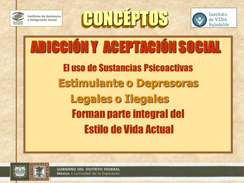 CONCÉPTOS CONCÉPTOS ADICCIÓN Y ACEPTACIÓN SOCIAL El uso de Sustancias Psicoactivas Estimulante o Depresoras Legales o Ilegales Legales o Ilegales Form