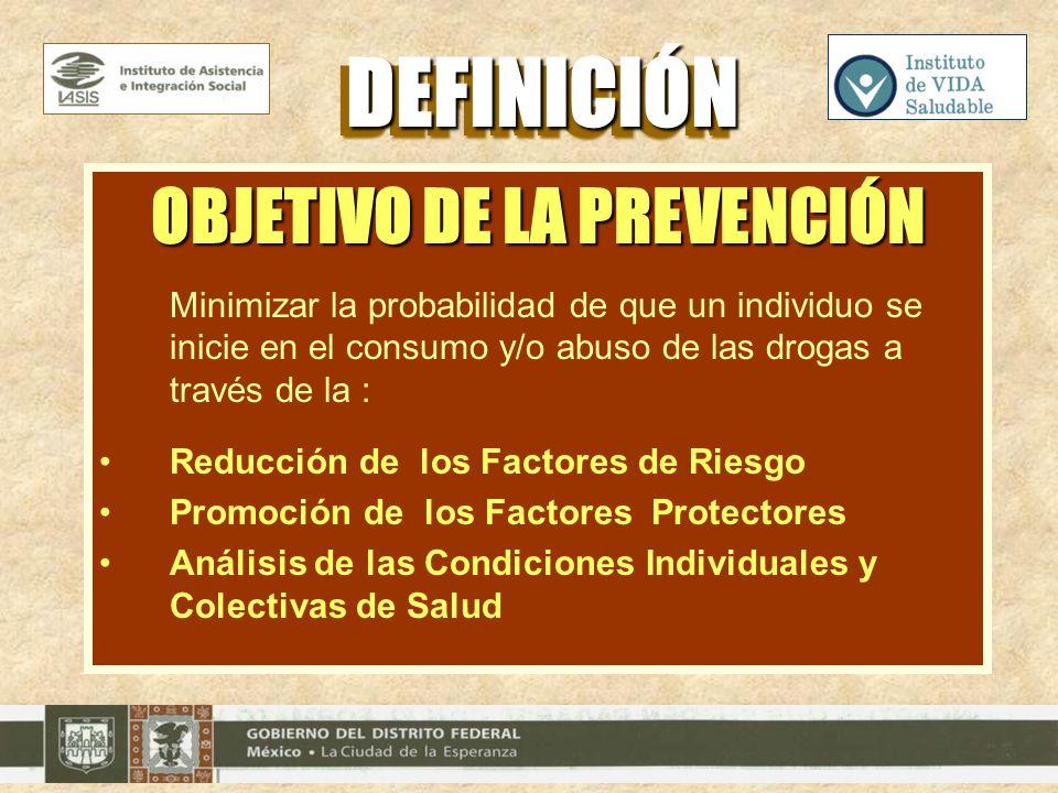 OBJETIVO DE LA PREVENCIÓN Minimizar la probabilidad de que un individuo se inicie en el consumo y/o abuso de las drogas a través de la : Reducción de