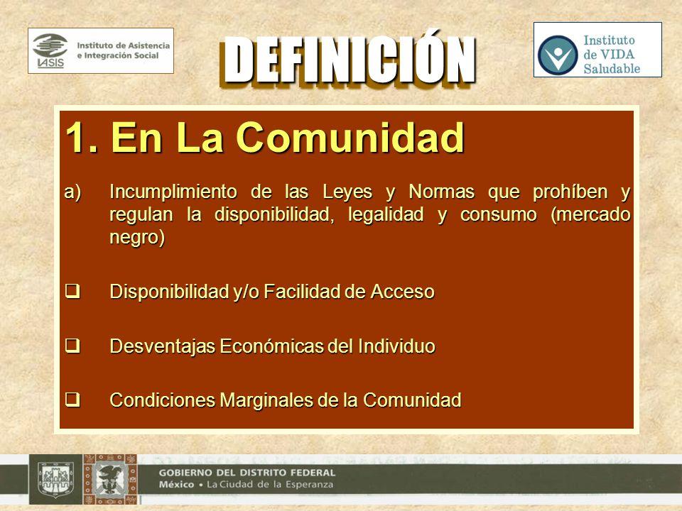 1. En La Comunidad a)Incumplimiento de las Leyes y Normas que prohíben y regulan la disponibilidad, legalidad y consumo (mercado negro) Disponibilidad