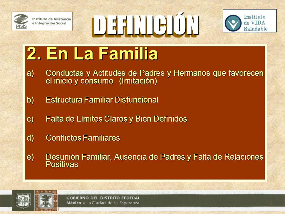 2. En La Familia a)Conductas y Actitudes de Padres y Hermanos que favorecen el inicio y consumo (Imitación) b)Estructura Familiar Disfuncional c)Falta